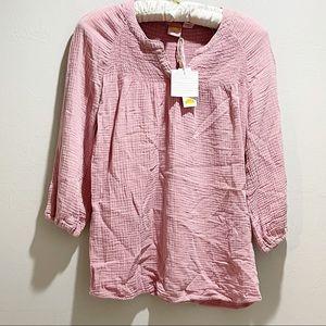 C&C CALIFORNIA Women's Dusty Rose Smocked 3/4 Sleeve Tunic